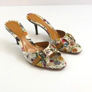 Gucci Horse Bit Floral Print Heeled Sandals